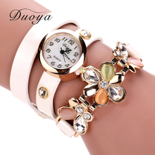 2017 New Duoya Women Leather Watch Watches Quartz Flower Bracelet Dress Wristwatches Opal Girl s Gift