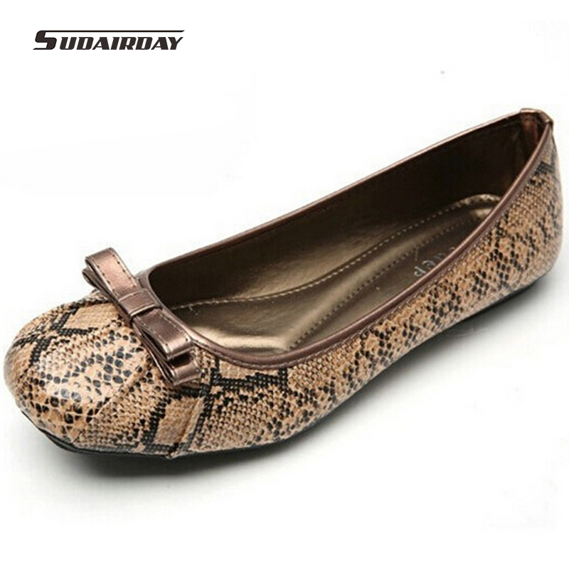2016 Women Fashion Snake pattern PU Leather Flat Shoes Female Leopard Ballet Flats Comfortable Loafers For Women Plus Size 35-41 casual ballet leopard pattern non leather flat shoes women fashion boat shoes zapatos mujer tacon sapato flats large size 4 16