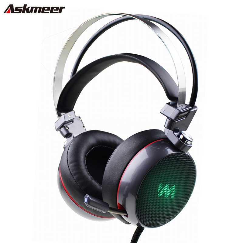New Askmeer Deep Bass Stereo Gaming Headset Over-ear Computer Gaming Headphones with Microphone Breathing LED Light For PC Gamer 2017 top game headphones professional headset super bass over ear gaming with microphone stereo headphones for gamer pc computer