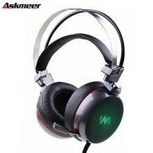 Новый askmeer глубокий бас игровая стереогарнитура Over-Ear компьютерных игр наушники с микрофоном дыхание свет для ПК Геймер