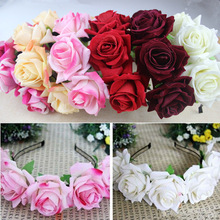2018 Hot 5 Colors 1Pcs New Silky Rose Wreath Headband Bride Wedding Handmade Girl Birthday Gift