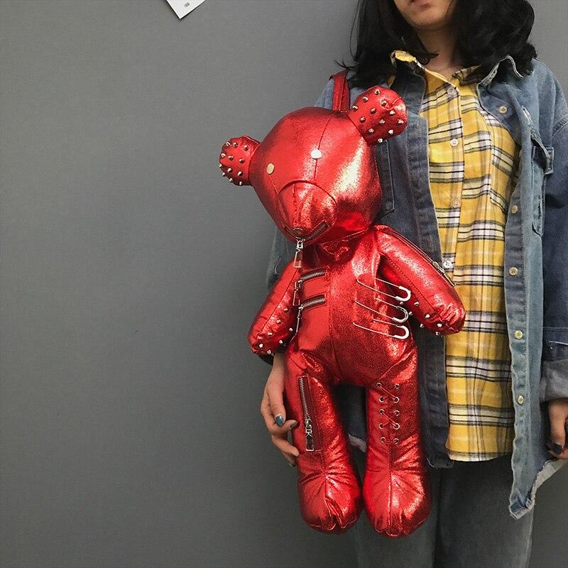 Luxe femmes sac à dos Punk noir Style dessin animé Animal ours forme personnalité mode sac à bandoulière dames voyage sac d'école 609