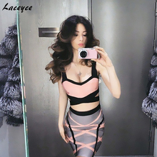 Laceyce 2018 New two Piece set summer dress women V-neck knitted patchwork sleeveless straps Sexy Rayon Bodycon bandage Dress