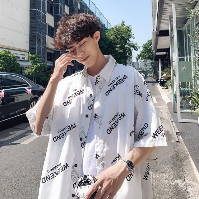 Lappster Man Korean Fashion White Shirt 2020 Summer Short Sleeve Shirt Regular Fit Vintage Letter Loose Streetwear Shirts 5xl Casual Shirts Aliexpress