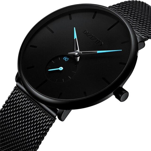 Fashion Watch Men Waterproof Slim Mesh Strap Minimalist Wrist Watches For Men Qu