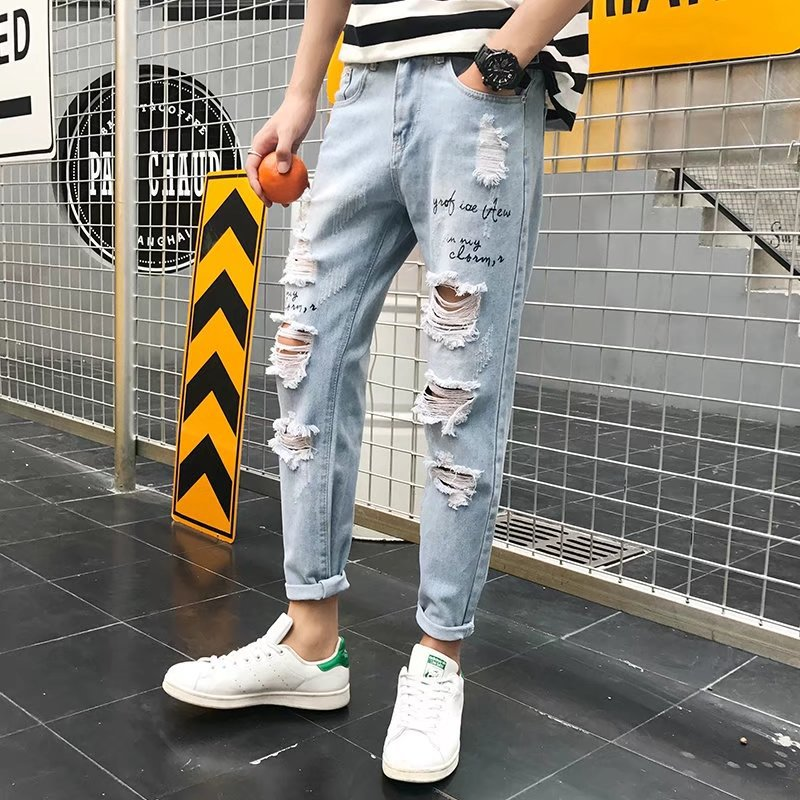 Wholesale 2019 Fashion Casual washing Distressed Ripped Hole beggar letter printed   jeans   homme teenagers Ankle Length pants men