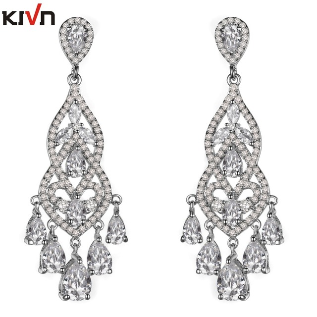 Womens fashion jewelry long dangle cz cubic zirconia chandelier womens fashion jewelry long dangle cz cubic zirconia chandelier wedding bridal earrings girls birthday gifts 6pcs mozeypictures Choice Image