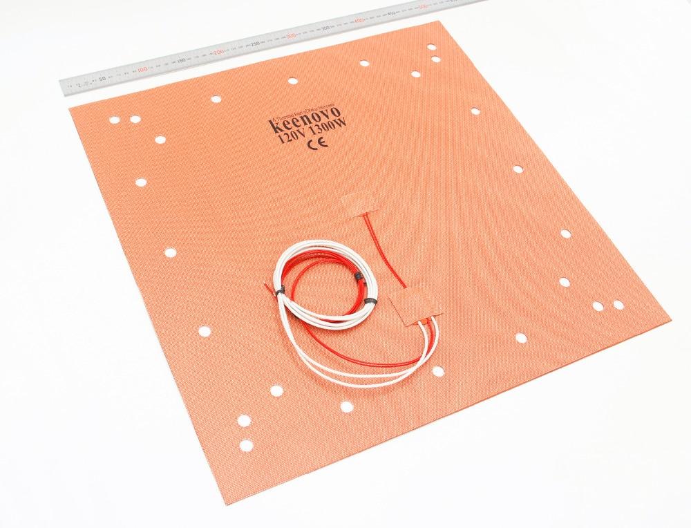 KEENOVO coussin chauffant en Silicone 508x508mm (20 x 20) pour lit d'imprimante CR-10 S5 3D avec trous de vis, support adhésif et capteur