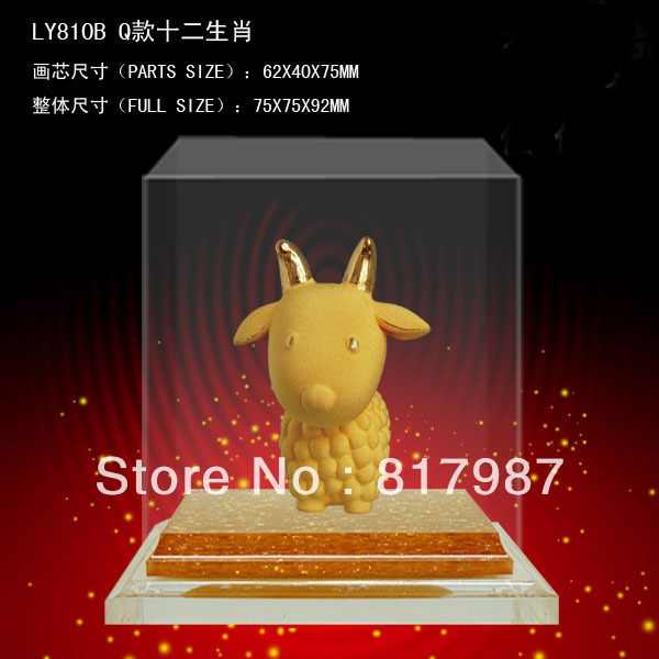 24k gold craft cute Chinese Zodiac goat figurine special art gift &decoration