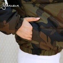 Yanueun Korean Fashion Back Letter Print Camouflage Women Down Jackets 2017 Winter Warm Outwear Coats  Army Green Jackets