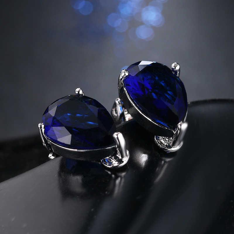 Модные серьги-клипсы в форме капель с кубическим цирконием, элегантные серьги с голубым камнем для девочек в стиле панк, подарок на вечеринку, женские серьги, Moda