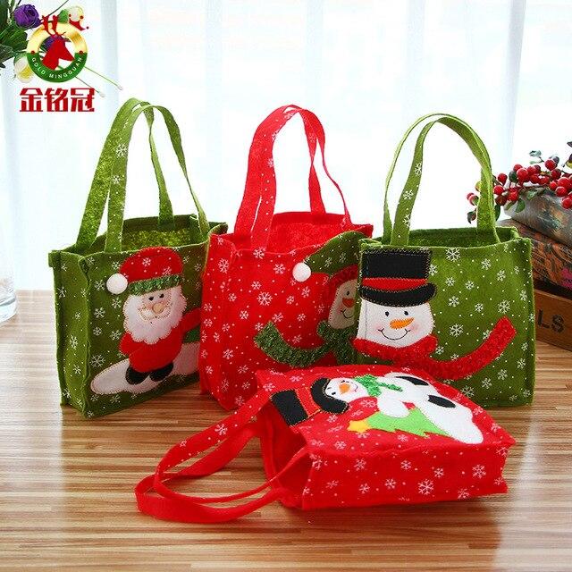 1 יחידות חג המולד מתנות לא ארוג קטן Sweety סוכריות מתנת תיק הדפסת שלג תיק חג המולד קישוטים לבית