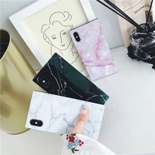 Mermer Doku Telefon iphone için kılıf 6 6 s 7 8 Artı X Moda Granit Taş Yumuşak IMD Kare Tasarım Fundas Için iPhone XS Max XR