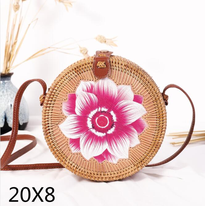 Woven Rattan Bag Round Straw Shoulder Bag Small Beach HandBags Women Summer Hollow Handmade Messenger Crossbody Bags 2