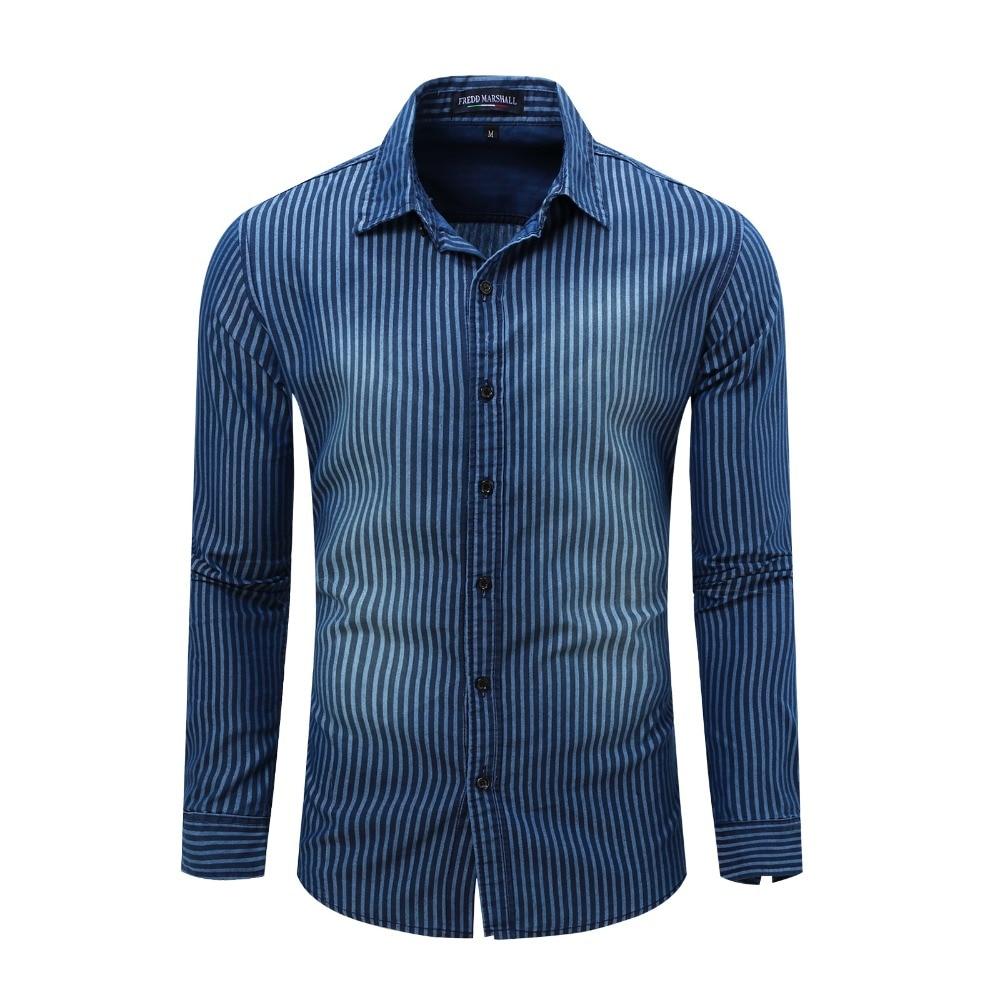 2017 Neue Europäische Und Amerikanische Außenhandel Männer Langärmeliges Cowboy Striped Print Shirt Euro-größe