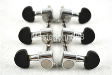 1 Set of Silver Black Cap Acoustic Guitar Tuning Pegs Tuners Machine Head 3L+3R Free Shipping