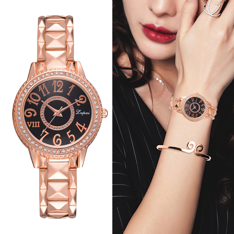 Lvpai Steel Dress Watches For Women Luxury Rose Gold Simple Business Quartz Clock Bracelet Wrist Watch Fashion Ladies Watches irfp4232 to 247
