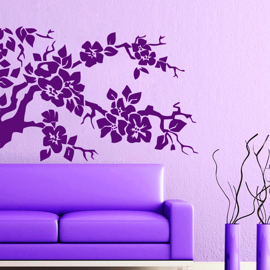 Purple Pollen Removable Wall Art Decal Sticker Diy Home: DCTOP Purple Flower Tree Wall Sticker For Living Room
