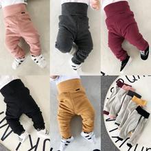 Новые зимние длинные штаны для малышей; Хлопковые Штаны-шаровары с высокой талией для малышей; повседневные брюки для новорожденных; свободные эластичные штаны для малышей