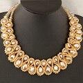 Declaração colar de 2017 mulheres da moda mão-tecido big chunky corrente de ouro colar de cristal do grânulo choker colares & pingentes bijoux