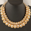 Statement necklace 2017 Fashion Women Hand-woven Big chunky Gold Chain Crystal Bead collar Choker Necklaces & Pendants Bijoux