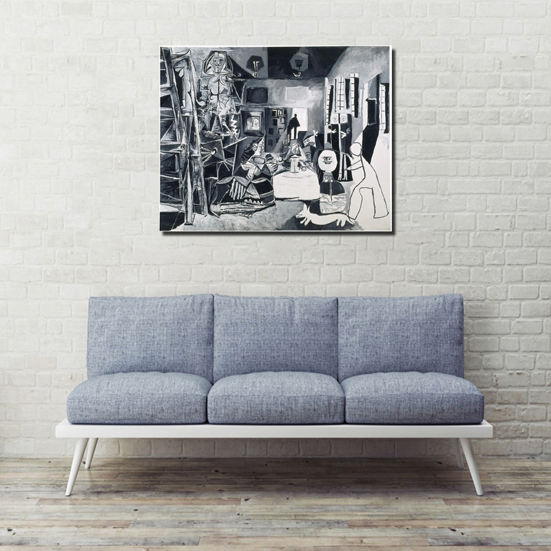 Pablo Picasso And The Meninas HD Wall Art Canvas Painting Poster Prints Modern Picture For Living Room Home Decor