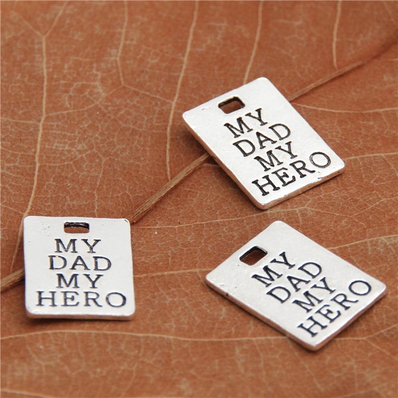 15 шт. старинное серебро металла мой папа мой герой письмо подвески для DIY ручной работы Мода аксессуары и украшения решений A2502