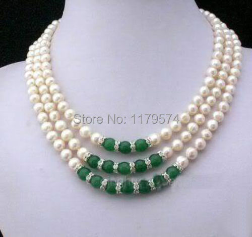 Wholesale jewelry Hot Charming new free shipping Jewelry freshwater pearl and jade necklace W0409