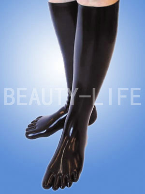 New Hot Fetish Latex Socks Seamless 3D Toe Socks Tight Fit  Knee Stockings 35cm Long Red Skin Black