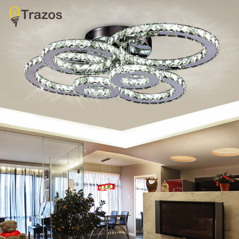 Modern Creative Led Ceiling Lamp Living Room Bedroom Ring Crystal Indoor Led Shine Dimming Ceiling Light Fixtures Ac110-240v Ceiling Lights & Fans Ceiling Lights