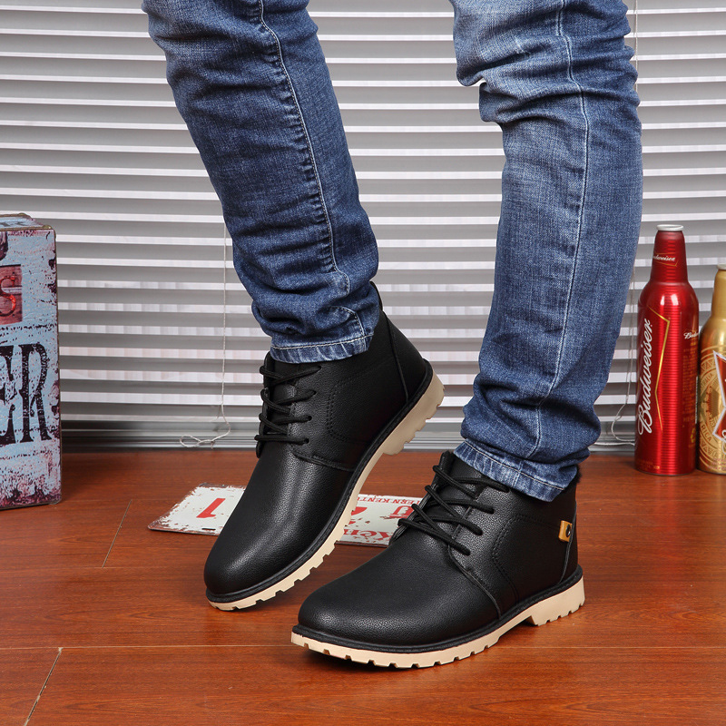 Winter Men font b boots b font Outdoor Warm font b Boots b font PU Lace