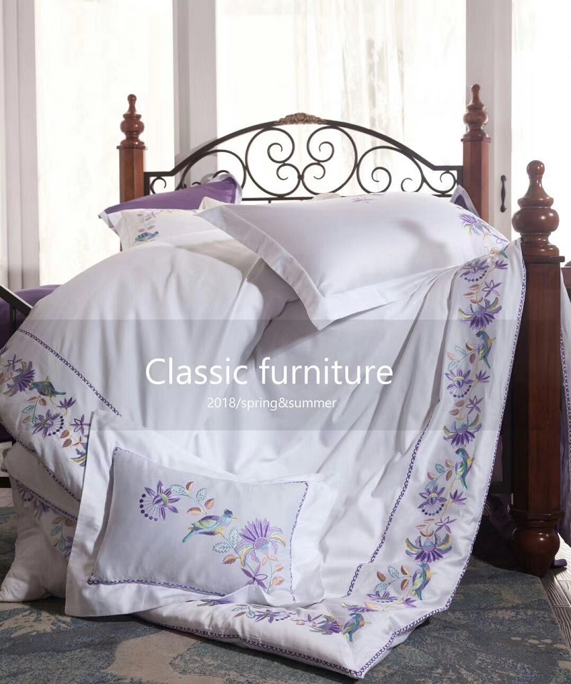 Lavender purple 60S Egyptian Cotton Exquisite embroidery Bedding Set Queen King Size Duvet Cover Bed Linen Bed sheet PillowcasesLavender purple 60S Egyptian Cotton Exquisite embroidery Bedding Set Queen King Size Duvet Cover Bed Linen Bed sheet Pillowcases