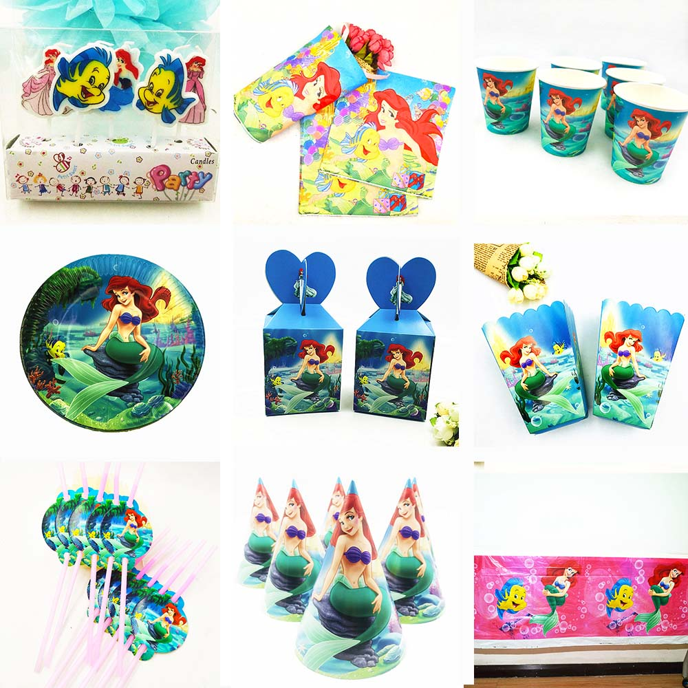 Mermaid Party Supplies Decoration Favors Tablecloth Cup Plate Straw Napkin Gift Bag Candles Candy Popcorn Box Kids Birthday