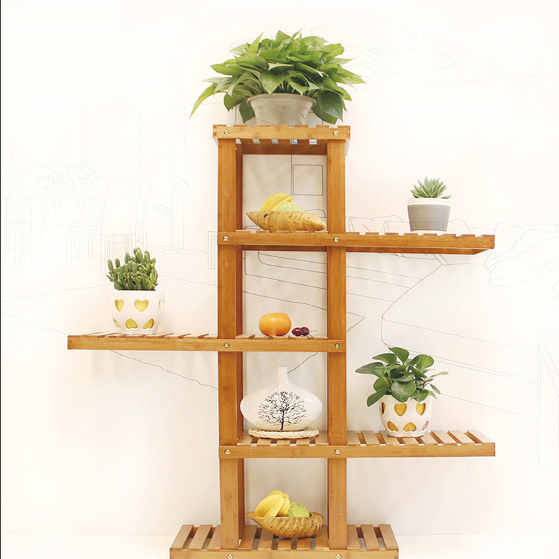 Aliexpress Fashion Bamboo Flowerpot Shelf Creative European Flower Stand Storage Holders Home Decoration Natural Color Potted From Reliable