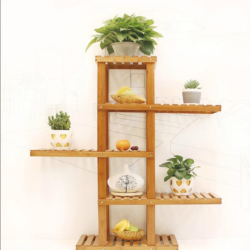 fashion bamboo flowerpot shelf creative european flowerstand storage holders home decoration natural color potted shelf