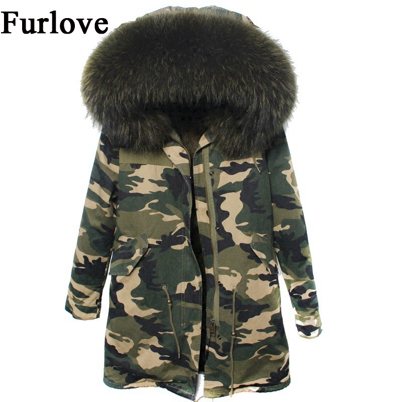 Womens Camouflage Coats Winter Jacket Women Jackets Natural Raccoon Fur Collar Outwear Thick Warm Parka Real Fox Fur Coat parkas woman winter jacket fur natural fox fur genuine leather jacket long winter coat sleeve three quarter thick womens down jackets