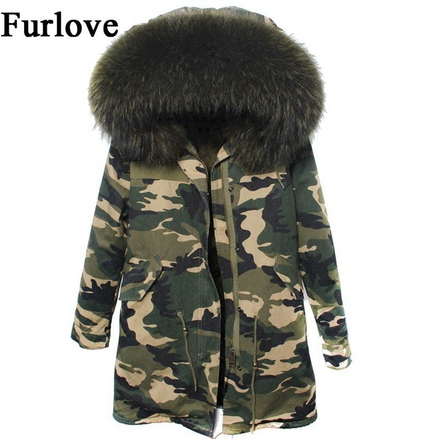 Womens Camouflage Coats Winter Jacket Women Jackets Natural Raccoon Fur  Collar Outwear Thick Warm Parka Real 2dcc595045