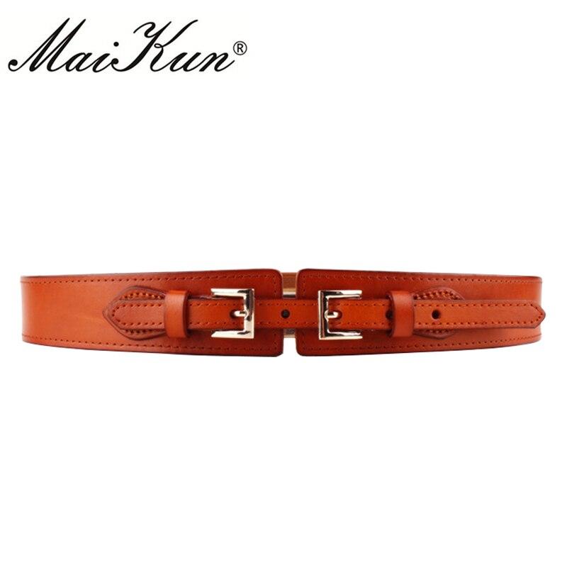 Genuine Leather Vintage Dress   Belts   for Women Wide Elastic Double Aigo Simple Down Jacket Waistbands 2017 Brand Design