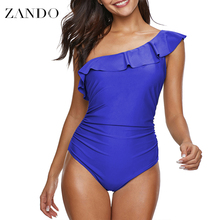 Zando Summer Solid One Piece Swimsuit Women Swimwear Shoulder Ruffle Mesh Bodysuits Beach Swim Suit Bathing
