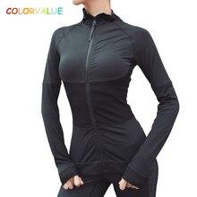 Colorvalue High Flexible Yoga Coat Long Sleeve Women Slim Mesh Running Sport Jacket Quick Dry Black Zipper Fitness Sweatshirts