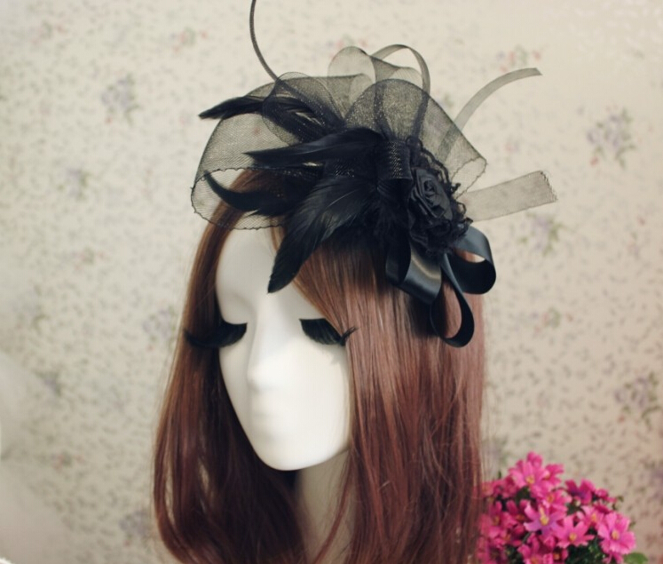 12 88 Coiffure De Mariee En Plumes Noires Gothiques Europeennes Et Americaines Petit Chapeau Cheveux De Noblesse In Cheveux Accessoires From