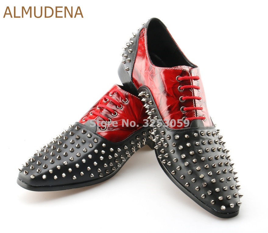 ALMUDENA Men Dress Shoes Red Pattern Printed Black Color Patchwork Suits Shoes Designer Rivets Banquet Shoes Wedding Shoes