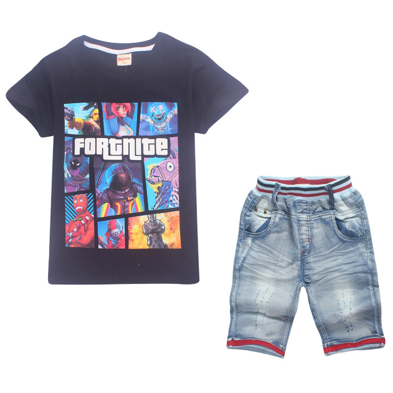 Boys Clothes 2018 Summer Children Game Eat Chicken Fortnite T Shirt Jeans Shorts Pants Girl Beach Sets Kid Cotton Sets Clothing