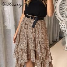 Sollinarry 2019 High Waist Polka Dot Skirt Flounce Beach Ruffle Casual Summer Skirts Elegant Boho Midi Skirt Feminino cute sunflower print flounce high low skirt for women