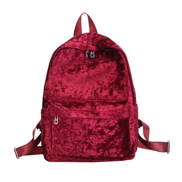 Red Backpacks Women Soft Velour Travel Rucksacks Female Casual Back Pack For Teenage Girls School Bag 2018 Female Back Pack