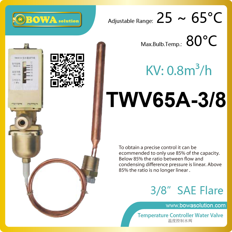 3/8 SAE connection temperature controlled water valves make flow increase with decreasing temperature to maintain stable temp. pressure operated water valves are used for regulating the flow of water in refrigeration plants with water cooled condensers