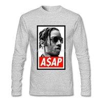 Mode-stil Männer t-shirt ASAP Rocky Preiswerte Qualität Hip-Hop-Shirt Tops Baumwolle Langarm T Shirts Herren