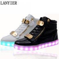 Quality 7 Colors Men Male LED Shoes 2017 Spring Autumn High Top Growing Shoes For adults Man Luminous Lights Shoes White /Black