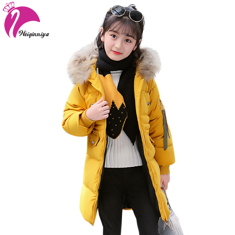 weiqinniya Girls Down Parkas Jackets Winter 2018 Kids Parka Fur Hooded Jacket For Girl Fashion Children Down Jacket Girl Jackets children girl jackets winter down coat jacket for girl fashion children fur hooded thick cotton down warm solid kid parka jacket