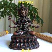 Тибетский античная Буддийский бронза Ushnishavijaya статуя будды 18 см Бронзовая Отделка Будда Исцеление Статуя